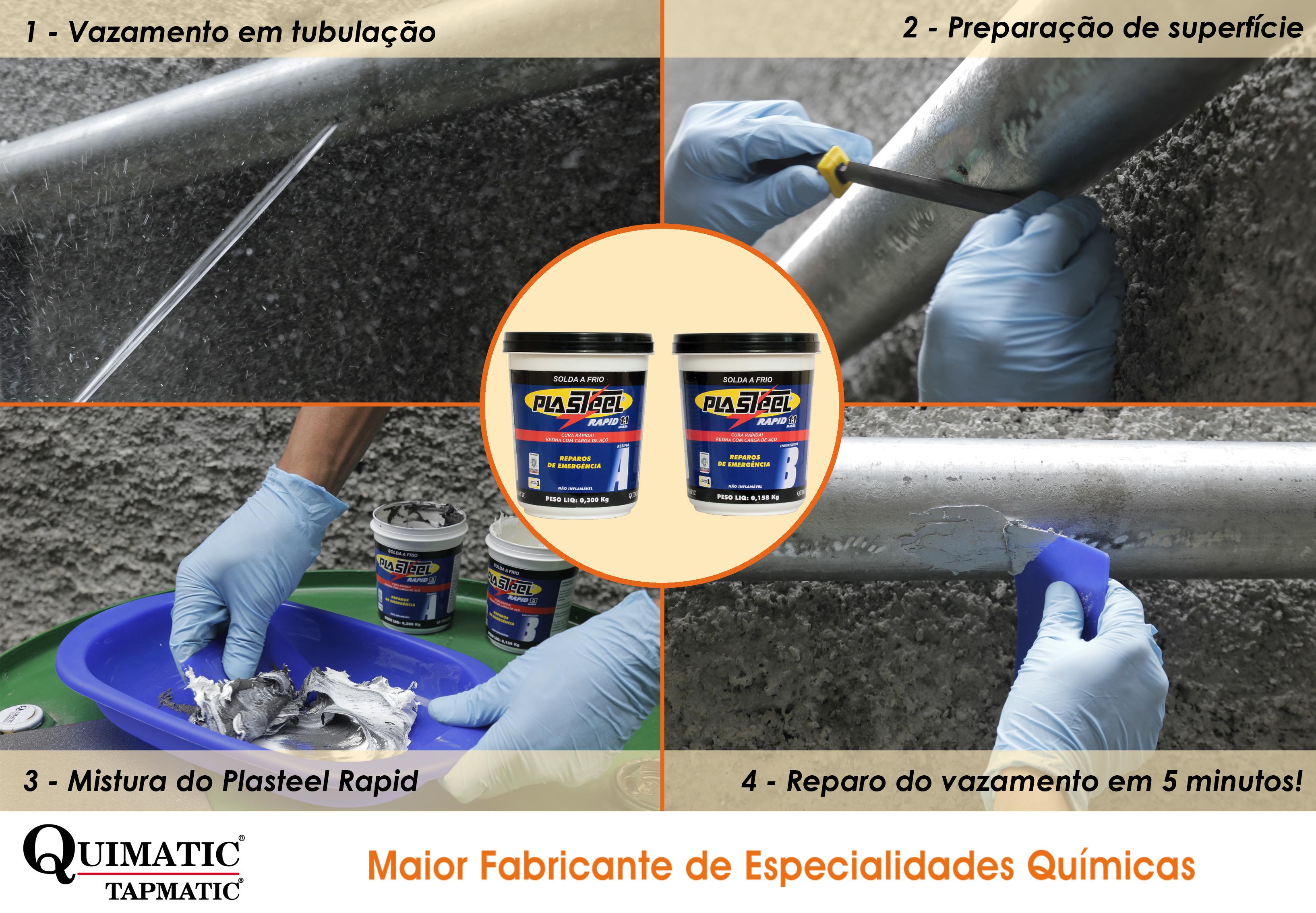 processo de reparo de vazamento de tubulação utilizando a solda a frio Plasteel Rapid