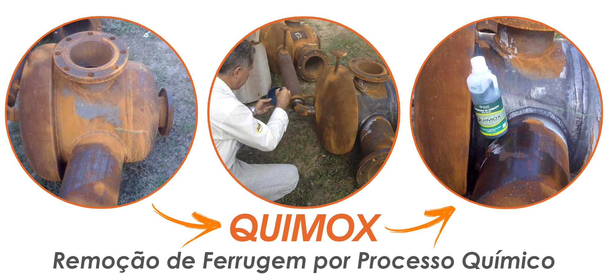 Removedor de ferrugem Quimox em cordão de solda